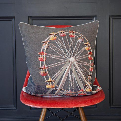 Iosis La Grande Roue Paris Ferris Wheel France Tapestry Square Cushion Tapestry Cushion Cushions Tapestry