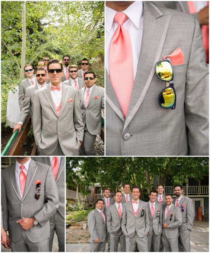 Peach-Inspired Southern Wedding Ideas | Gray suit groom, Wedding ...