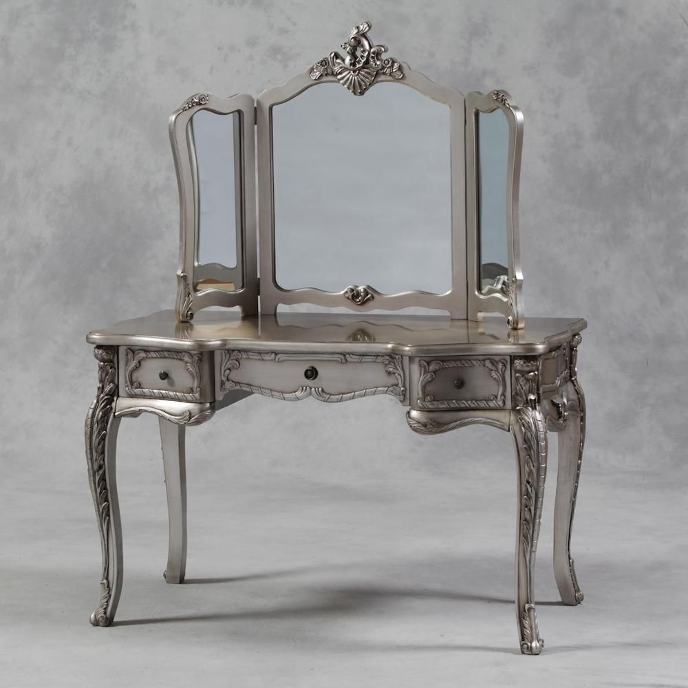 Large silver dressing table with mirror dressing tables