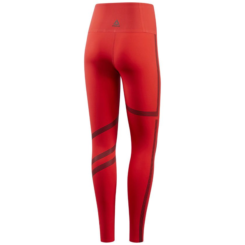 35cdd4b71746a1 Reebok Linear High Rise Legging - Red | Reebok US | Powerlifting ...