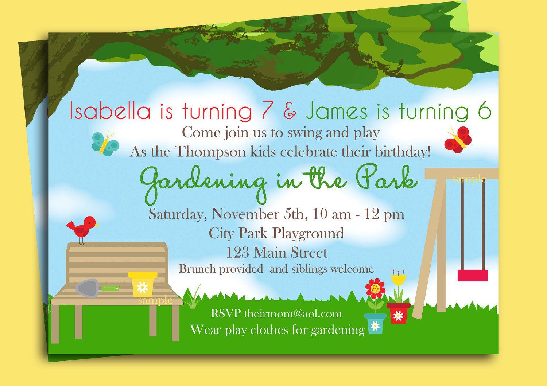 Park Playground Birthday Invitation Printable  Gardening In The