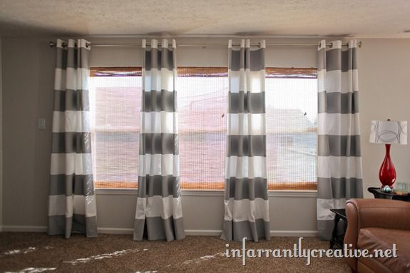 DIY Painted Striped Curtains #paintfabric
