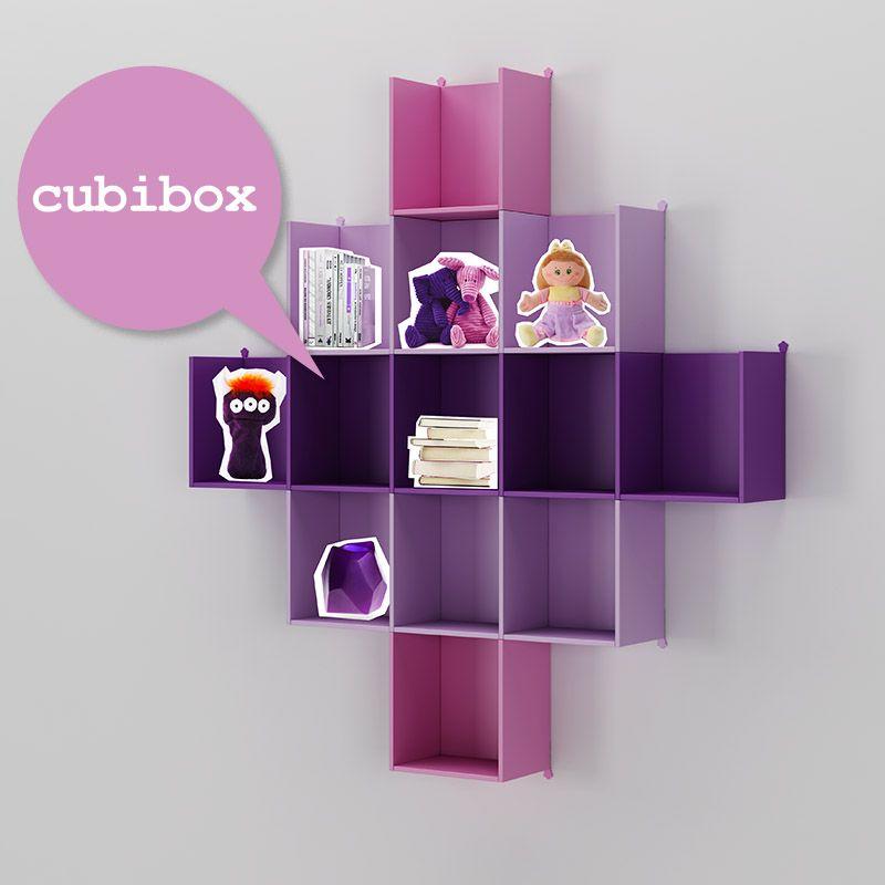 Cubibox modulabili a piacere, qui laccati in malva, lilla e rosa ...