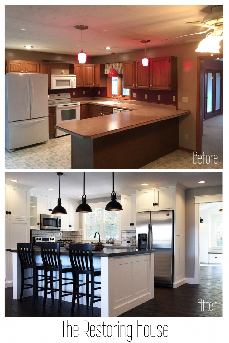 A whole house renovation. A post loaded with before and after pictures. Tons of inspiration. #kitchenremodeling