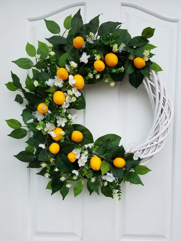 Photo of Lemon Wreath for Front Door, Summer  Wreath, Mother's Day Gift, Lemon Home Decor