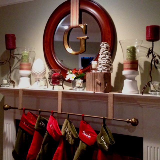 Christmas Mantle Complete With Stocking Rod And Ribbon