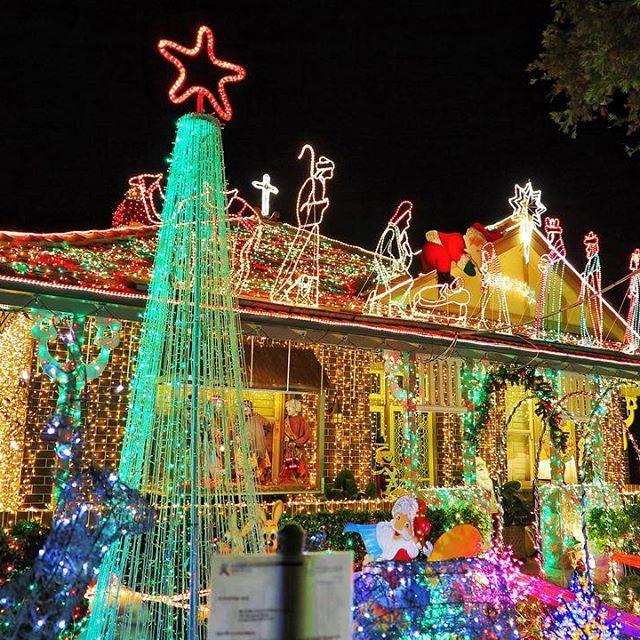 Christmas lights on Burwood Road Sydney, Australia
