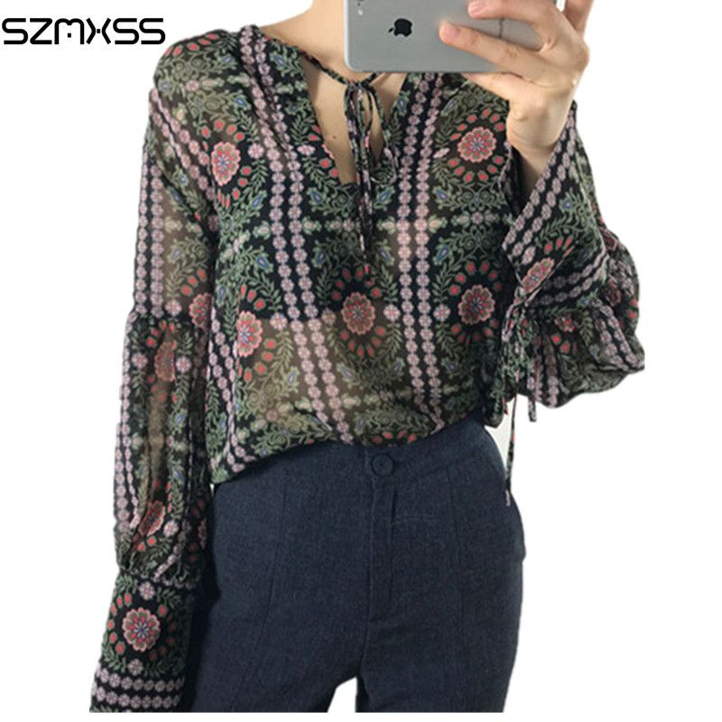 82d79f8e7eb Women Blouse 2017 Summer Vintage Long Sleeve Sexy Perspective V-Neck Chiffon  Shirts Floral Printed