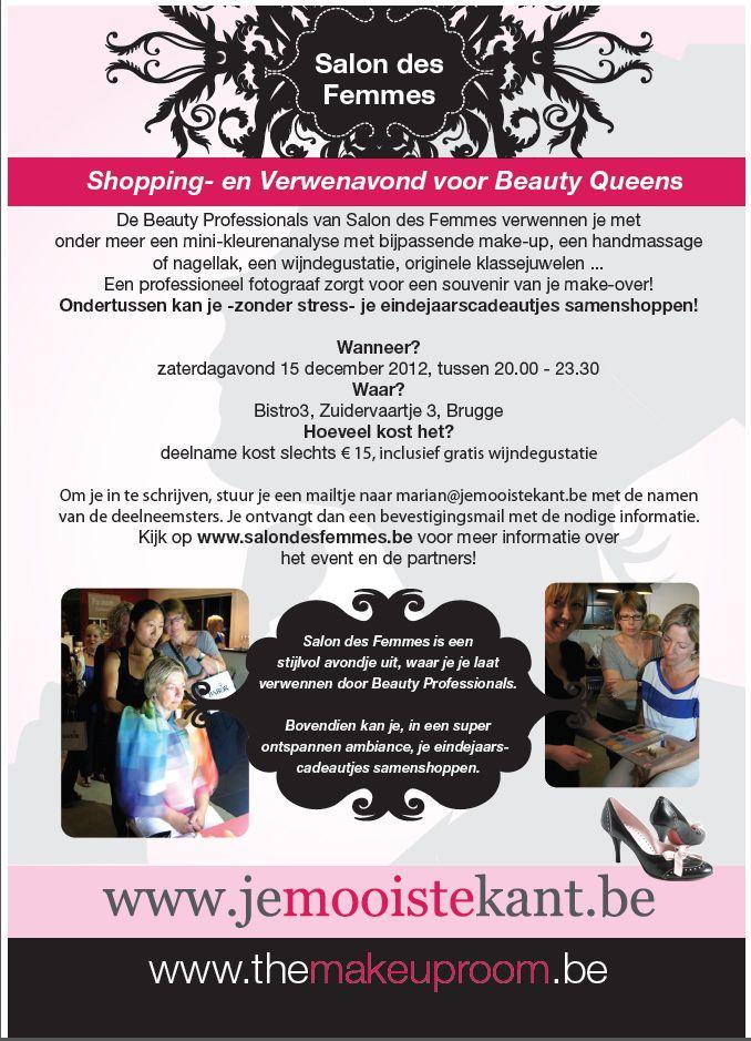 Maak kans op 1 van de 3 gratis toegangskaarten voor de Nieuwjaarseditie van Salon des Femmes op zaterdagavond 15 december, de verwenavond voor Beauty Queens.   Ga naar http://www.facebook.com/pages/GlamSmile-Belgium/280229002085075?ref=hl en speel mee!