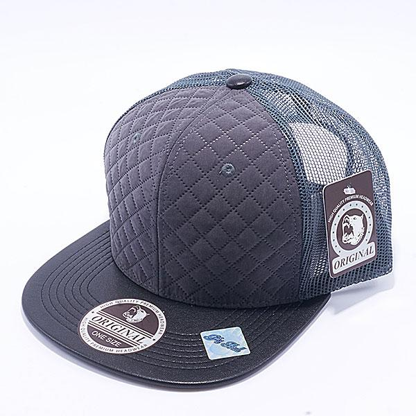 6ecef3f48af Pit Bull Quilt Leather Trucker Hats Wholesale  Charcoal Black