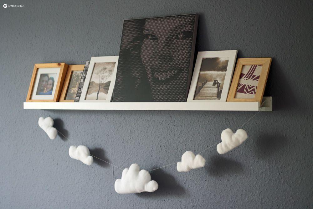 Wölkchen Girlande DIY Kinderzimmer Deko Geschenkidee