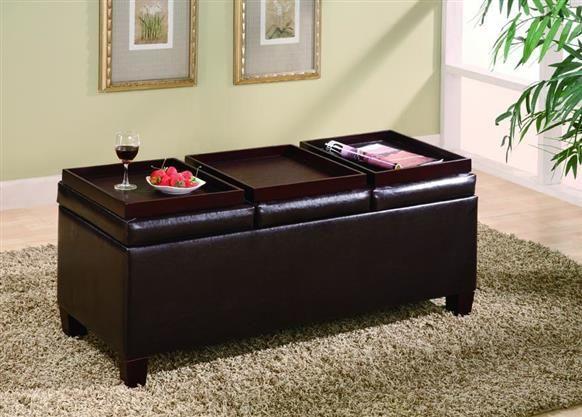 Coaster Furniture Dark Brown Wood Tray Top Storage Ottoman
