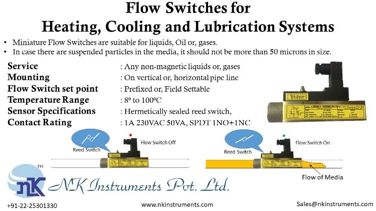 Flow Switches For Heating Cooling And Lubrication Systems