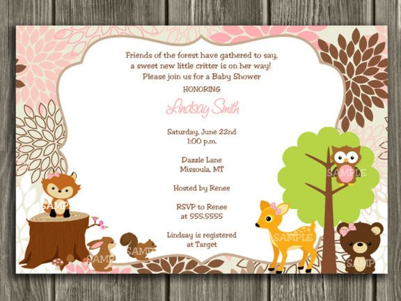 printable woodland girl baby shower invitation | forest animals, Baby shower invitations