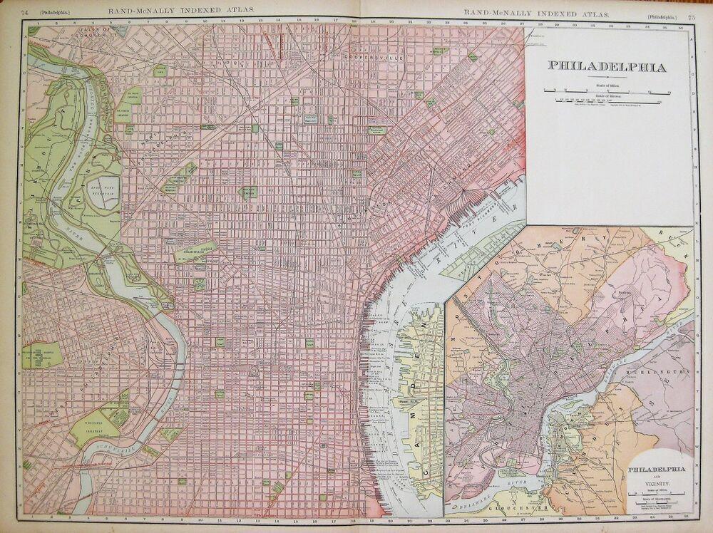 1906 Rare Size Antique Philadelphia City Map Vintage Map Of - Philadelphia-on-map-of-us