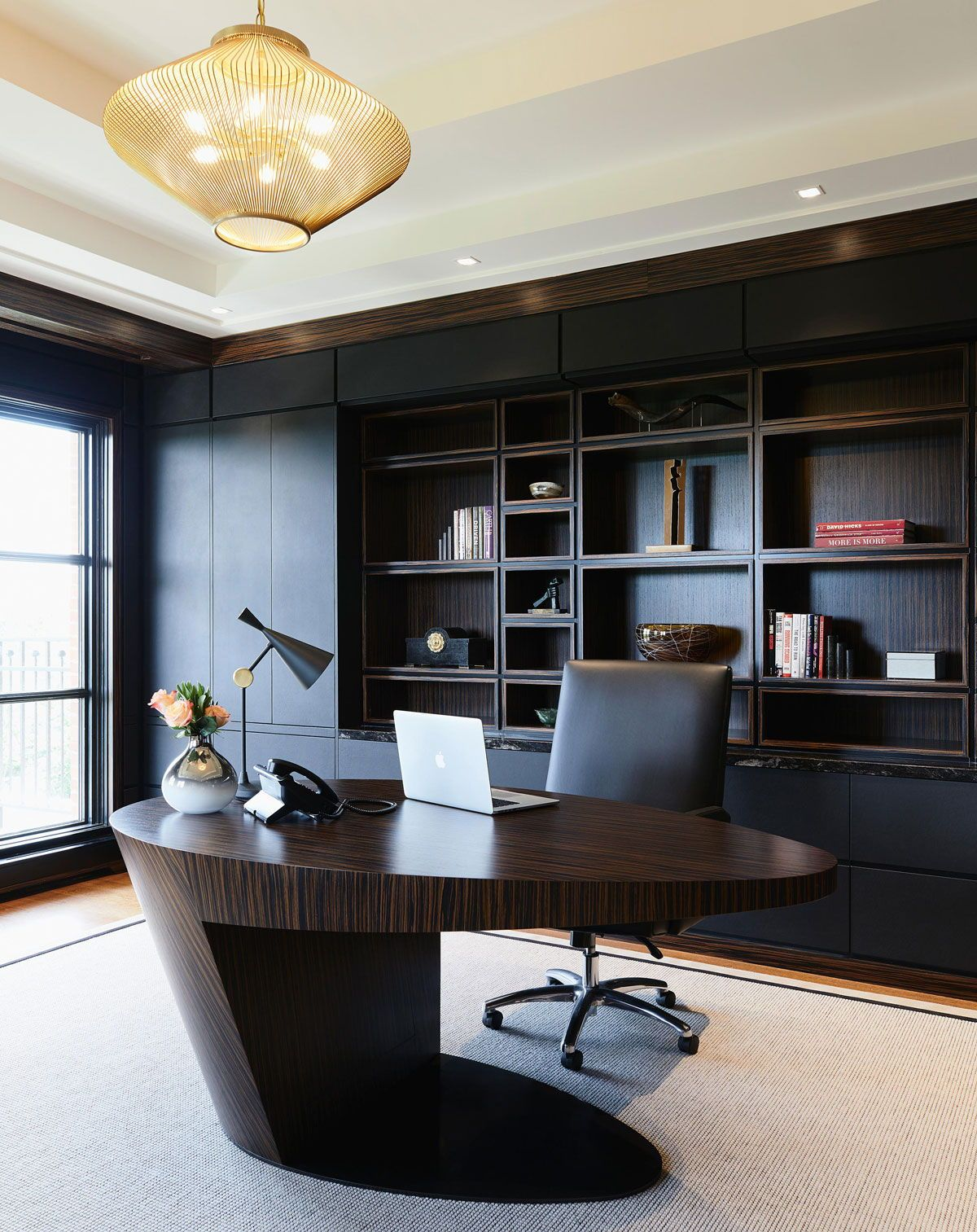 Dailyproductpick The Orbit Desk By Douglas Design Studio Uses Macassar Ebony For A Striking Modern Office Interiors Home Office Design Modern Home Office Desk