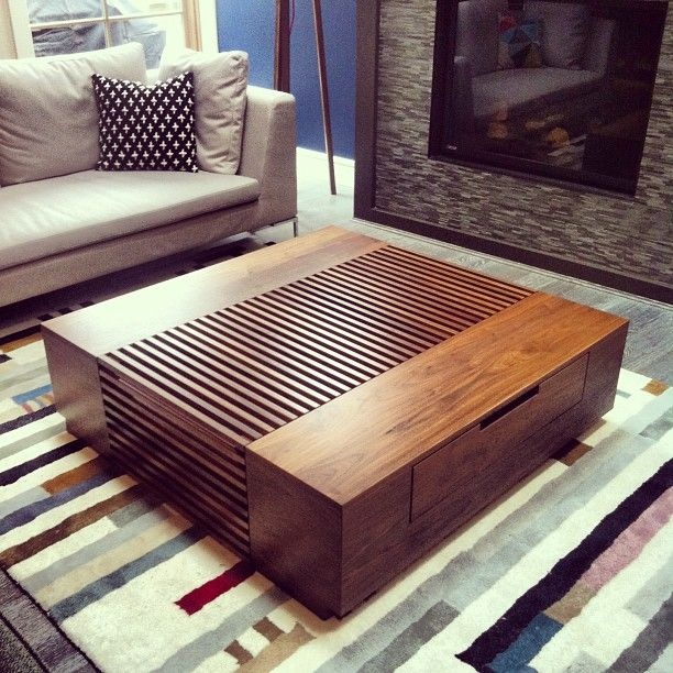 Custom designed coffee table, splits into 3 separate pieces by Kyla Bidgood Interior Design