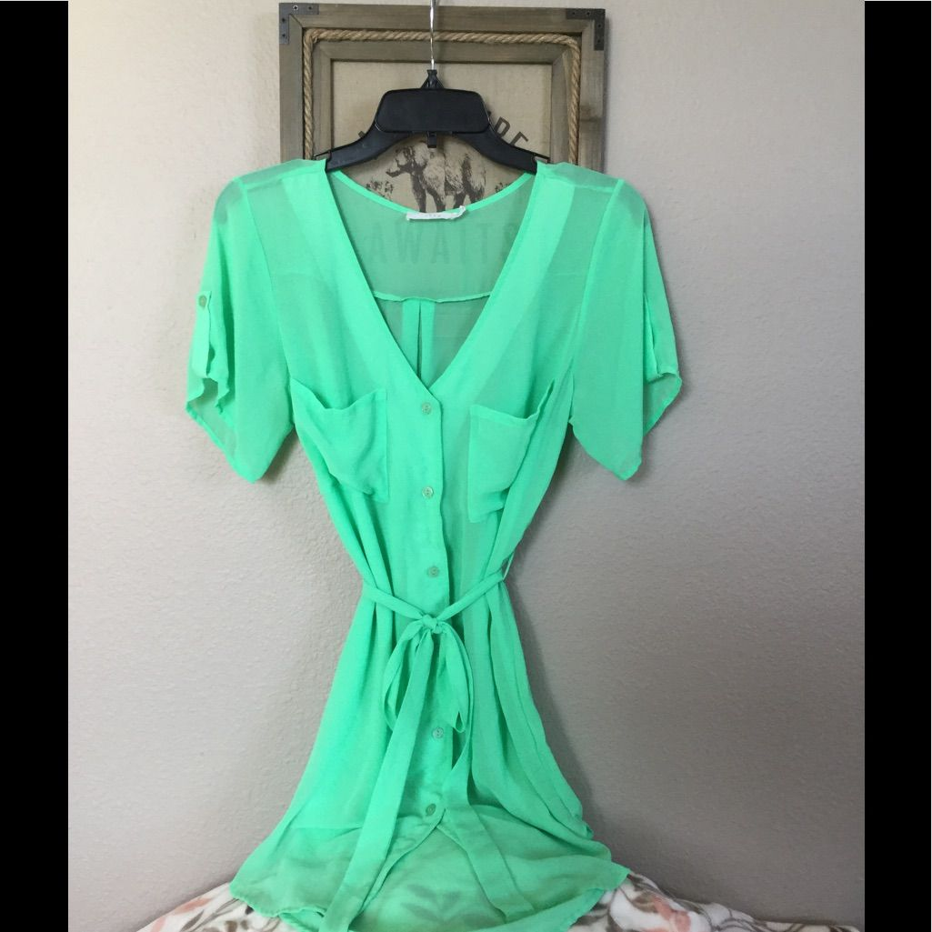 Lush roll tab sleeve shirt dress in neon green neon green and products
