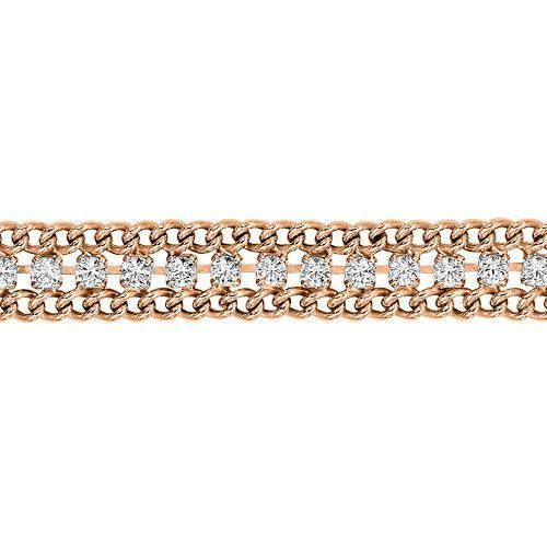 Rose Gold Plated Sterling Silver Curb Bracelet with Crystal Accents