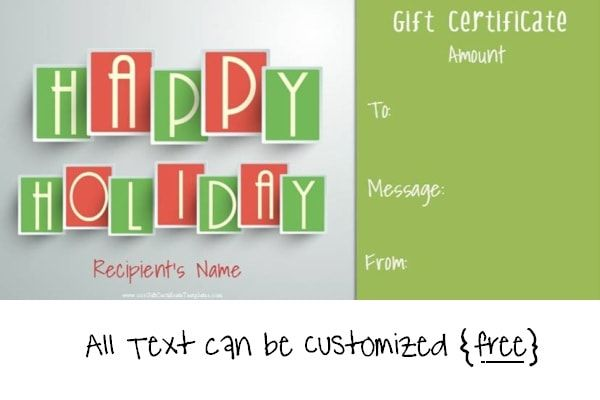 Happy Holidays gift certificate template Massage Pinterest
