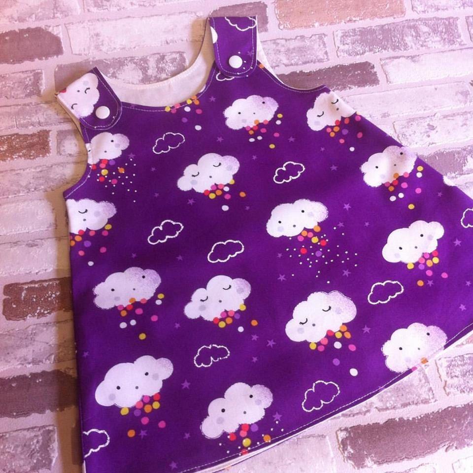 Pitter patter purple clouds girls, baby pinafore dress custom made 0 ...