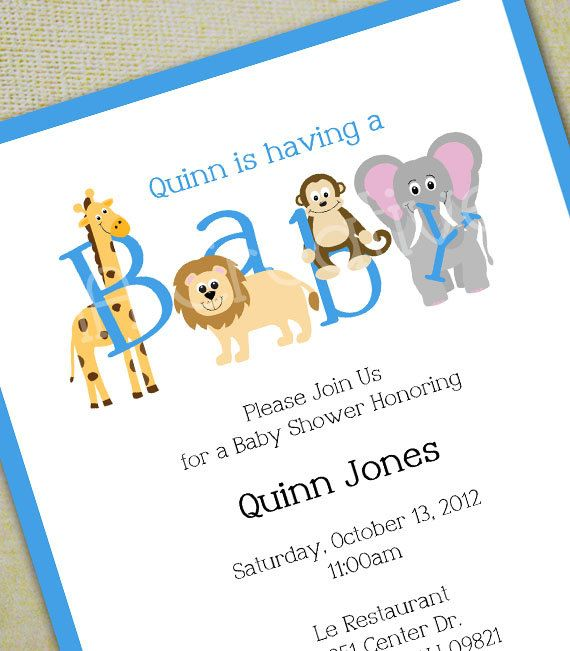 Animal baby shower invitation personalized diy printable digital animal baby shower invitation personalized diy printable digital file girl boy or filmwisefo Gallery