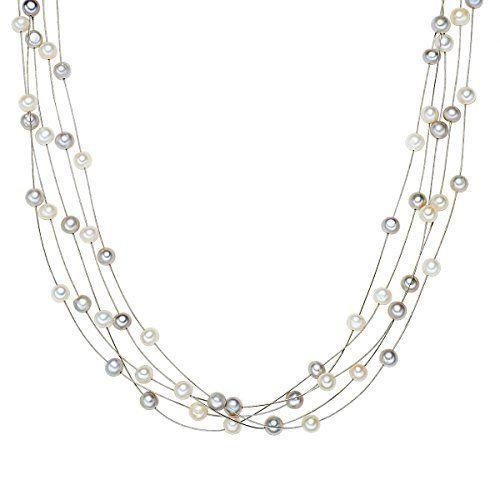Valero Pearls Classic Collection Damen-Kette Hochwertige Süßwasser-Zuchtperlen in ca.  6 mm Oval weiß / grau 925 Sterling Silber    43 cm   400320 - http://schmuckhaus.online/valero-pearls-12/valero-pearls-classic-collection-damen-kette-in-6-3