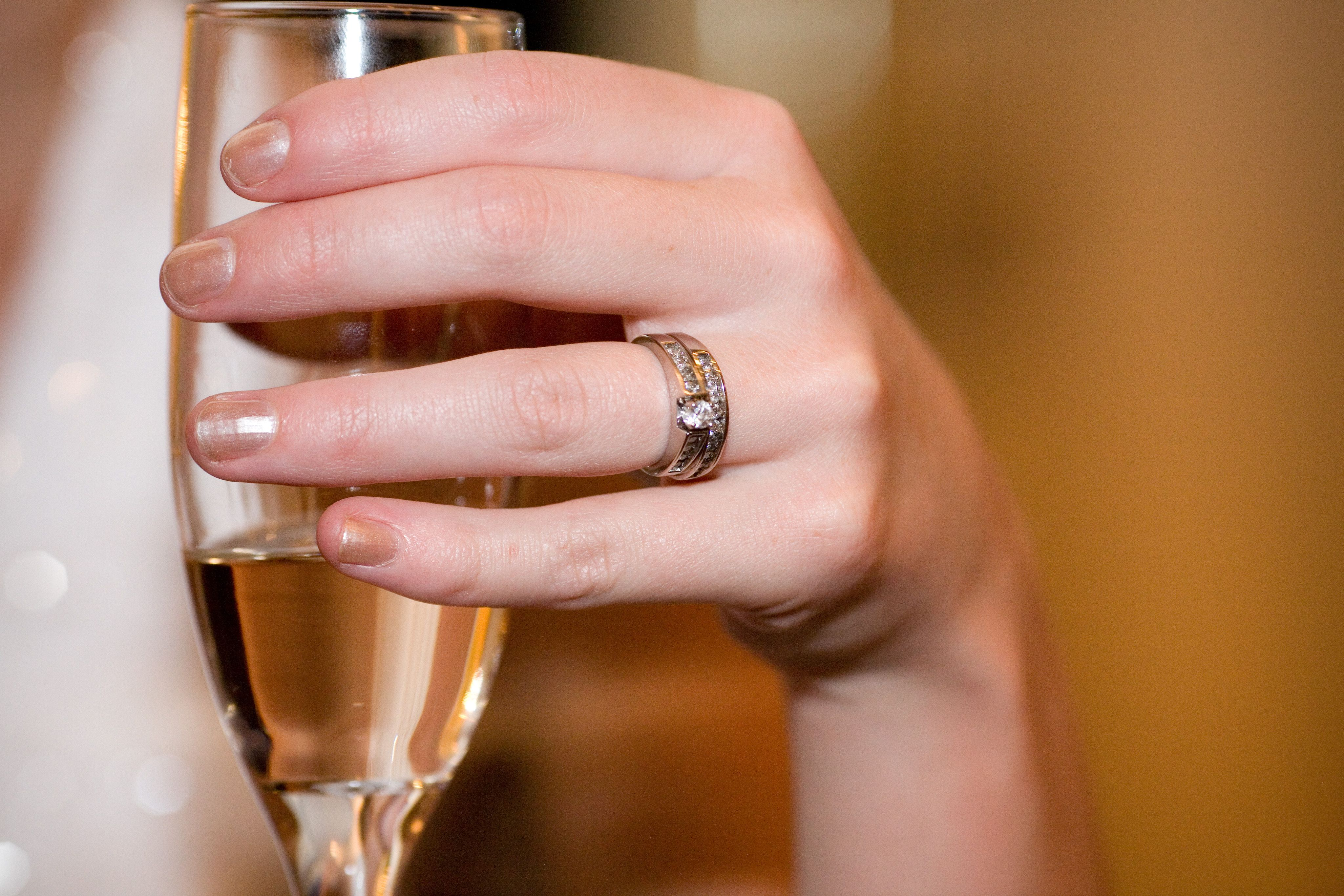 bride wedding ring and champagne glass   Wedding photos   Pinterest ...