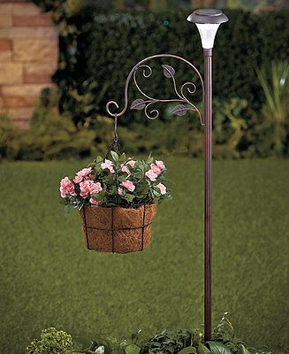 Solar lamp post w shepherds hook for flowers plants garden lawn
