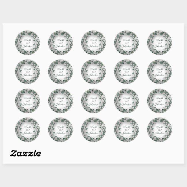 Photo of Eucalyptus Wreath Wedding Name Favor Green Gold Classic Round Sticker | Zazzle.com