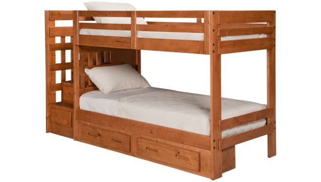 Oak Furniture West - Ponderosa - Bunk Bed With Storage Stairs And ...