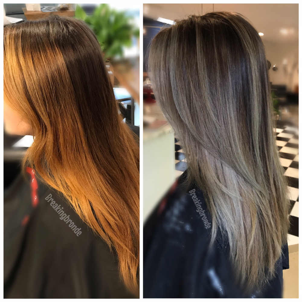 Color Correction Banded And Brassy To Ash Melt Blending Gray Hair Tone Orange Hair Color Correction Hair