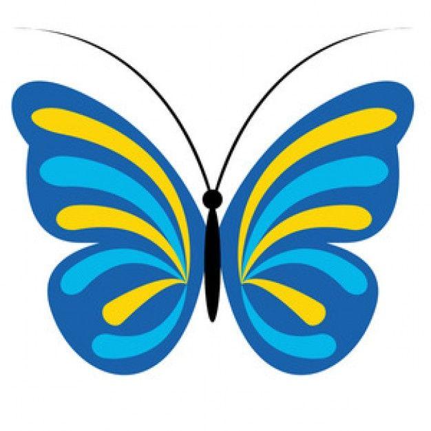 Blaue und gelbe Schmetterling