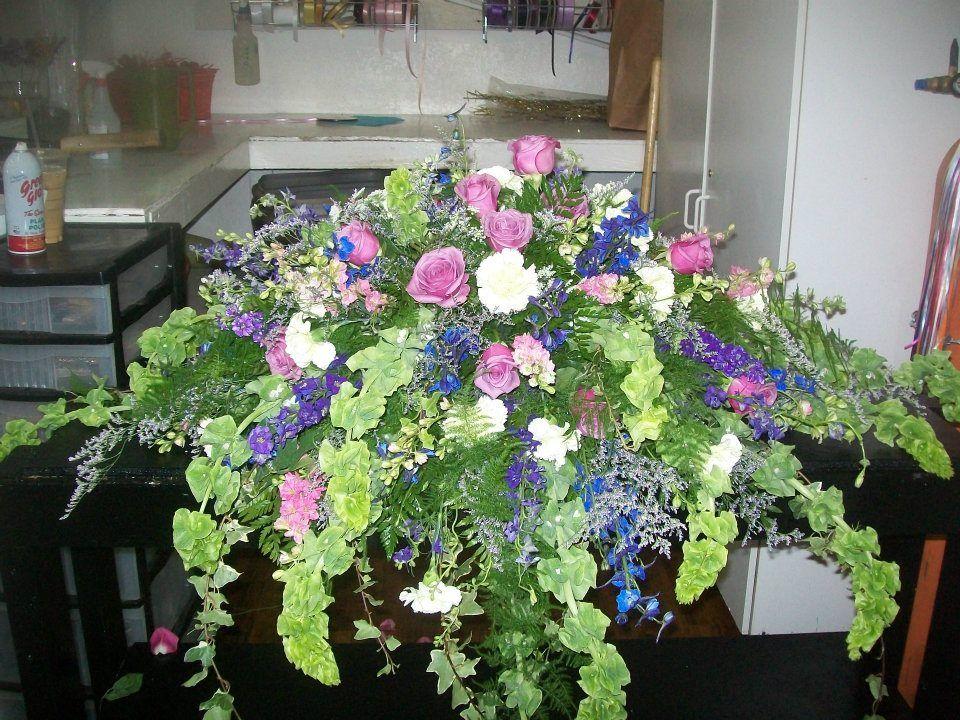Bells Of Ireland Casket Spray Cemetery Flowers Sympathy Flowers Sympathy Floral
