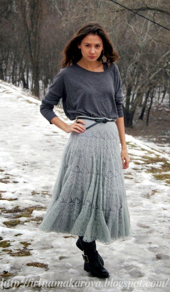 лицевая с накидом мохеровая юбка ледяная дымка спицы