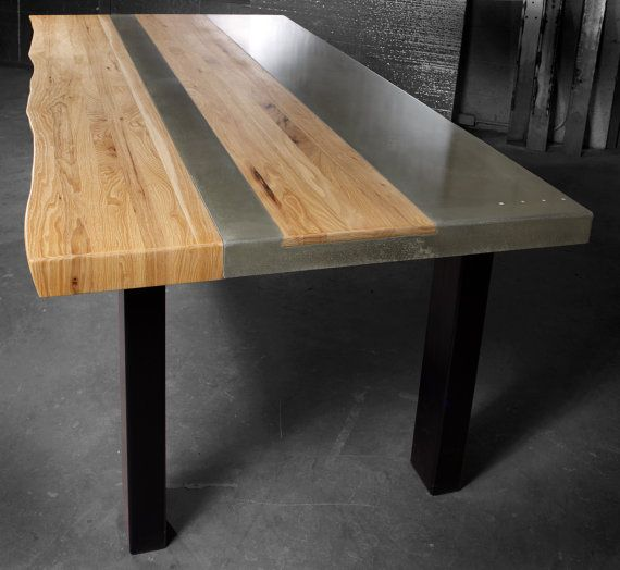 Concrete Wood Steel Dining Kitchen Table Etsy Industrial Design Furniture Steel Furniture Dining Table In Kitchen