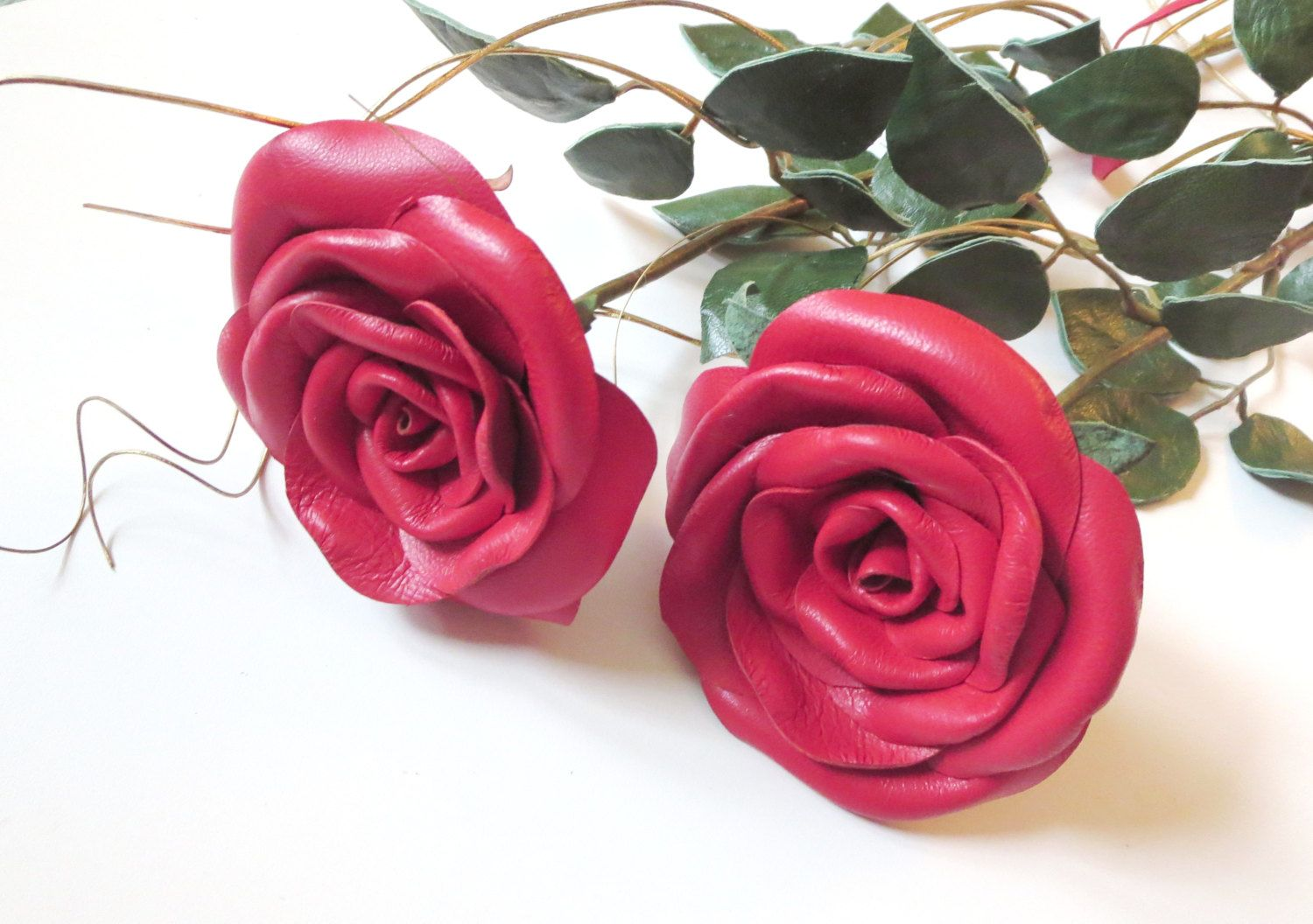 Red Rose -long Stem Flower - Leather bouquet Wedding 3rd Anniversary ...