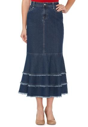 Cato Fashions Mermaid Fray Denim Skirt