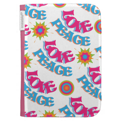 Funky Love and Peace Hippy Sixties Pattern Kindle 3 Cover
