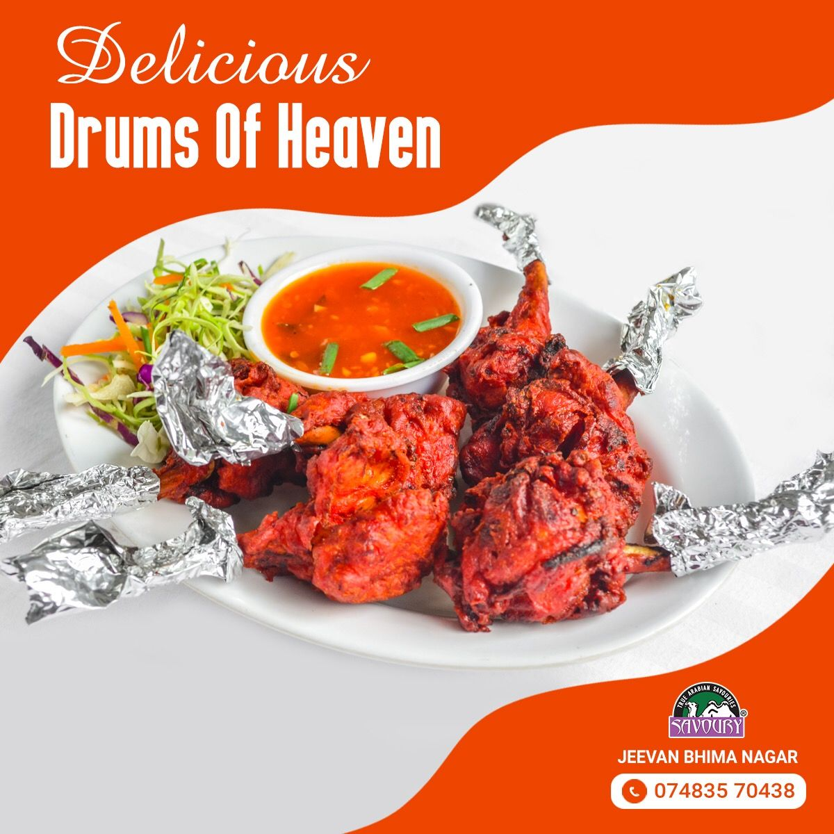 Take a slight twist with spices and sauces.  Visit and enjoy spicy Drums of Heaven from Savoury Jeevan Bhima Nagar.
