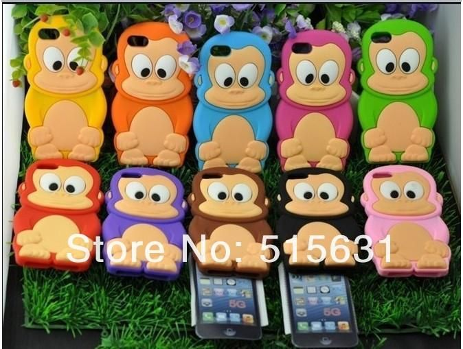 3d iphone 4s cases | cheap 3D Monkey style Case for iPhone 4 4s Soft Silicone Animal Case ...