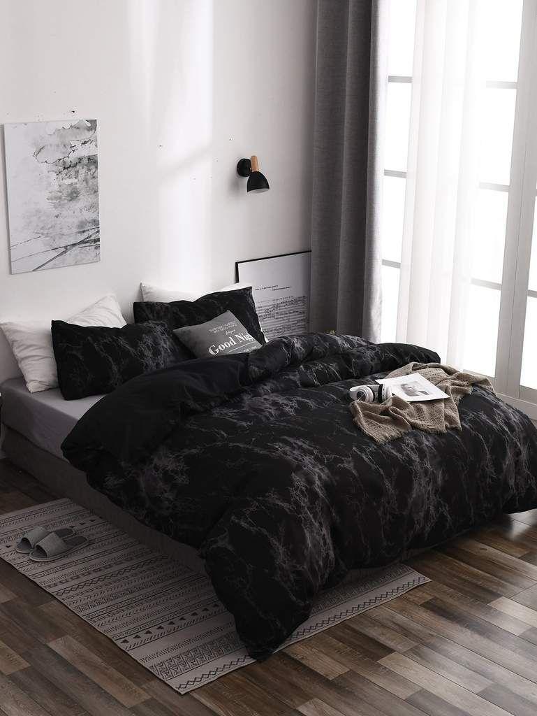 Black Marble Print Sheet Set Bedroom Interior Luxurious Bedrooms Home Decor Bedroom