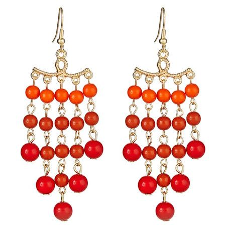 Set of orange chandelier earrings with beaded detail.    Product: 1 Pair of earringsConstruction Material: Zinc, ...