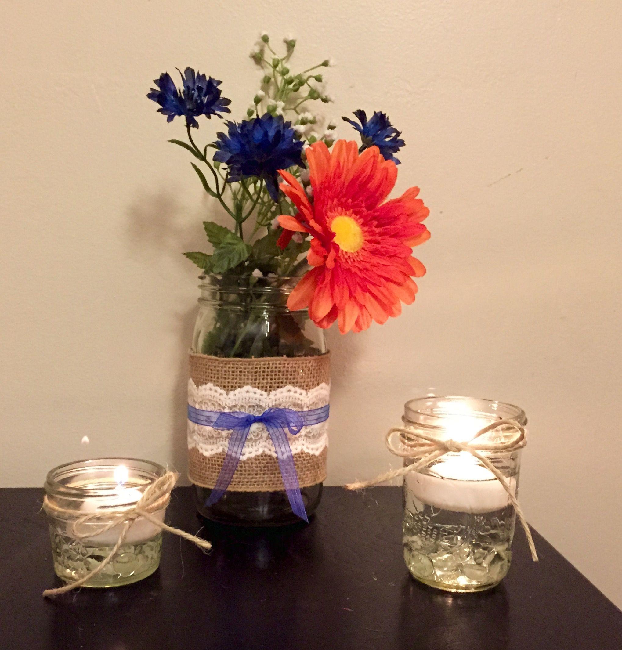 Wedding Reception Centerpiece, Mason Jar, Burlap, Lace