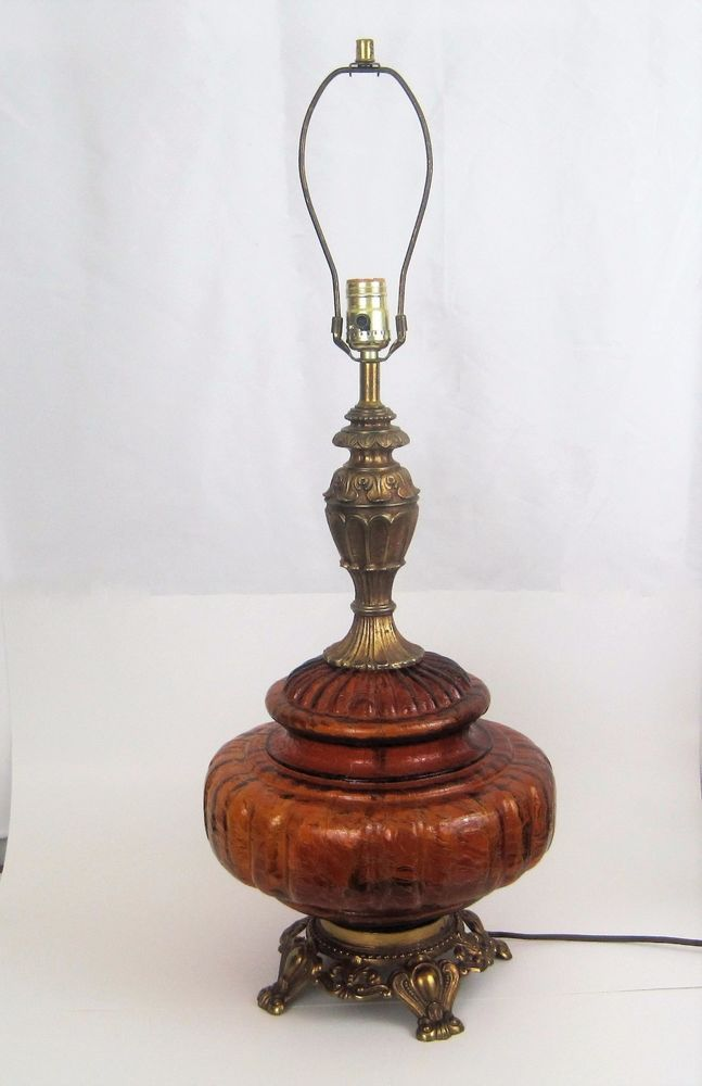 Details About Vintage Retro Amber Glass Table Lamp 3 Way
