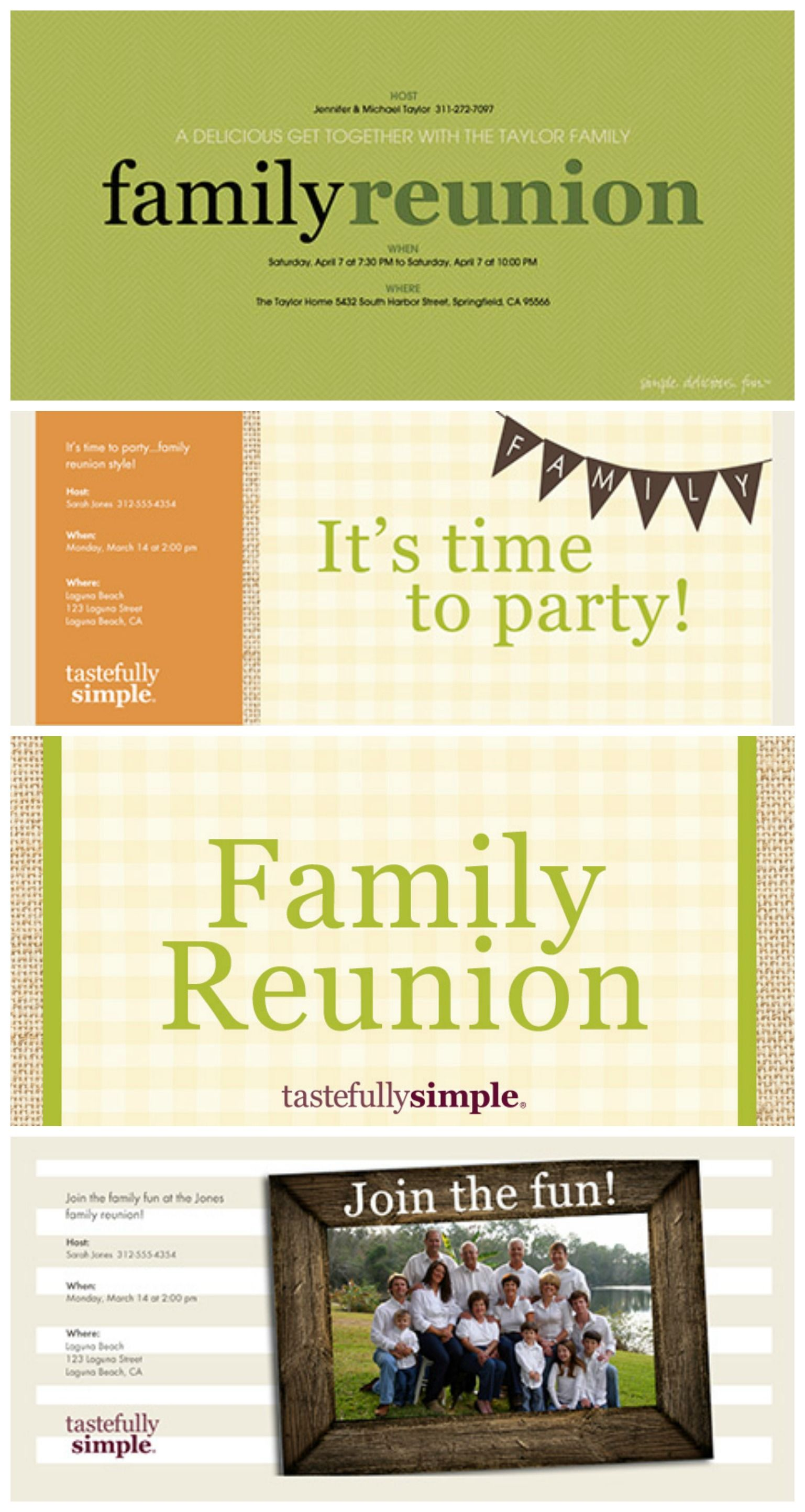 Free family reunion evites and invitation ideas