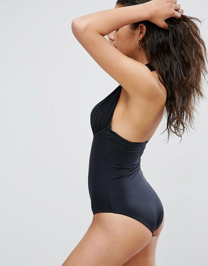 3df830735ca ASOS  Sculpt Me  Control Push Up Plunge Supportive Swimsuit - Black ...