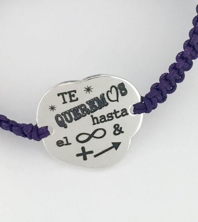 4f2efb55d39a Pulsera NUBE en plata de ley con cordón de macramé de color a elegir. Regalo  grabado personalizado con la frase que desees.. San Valentin .