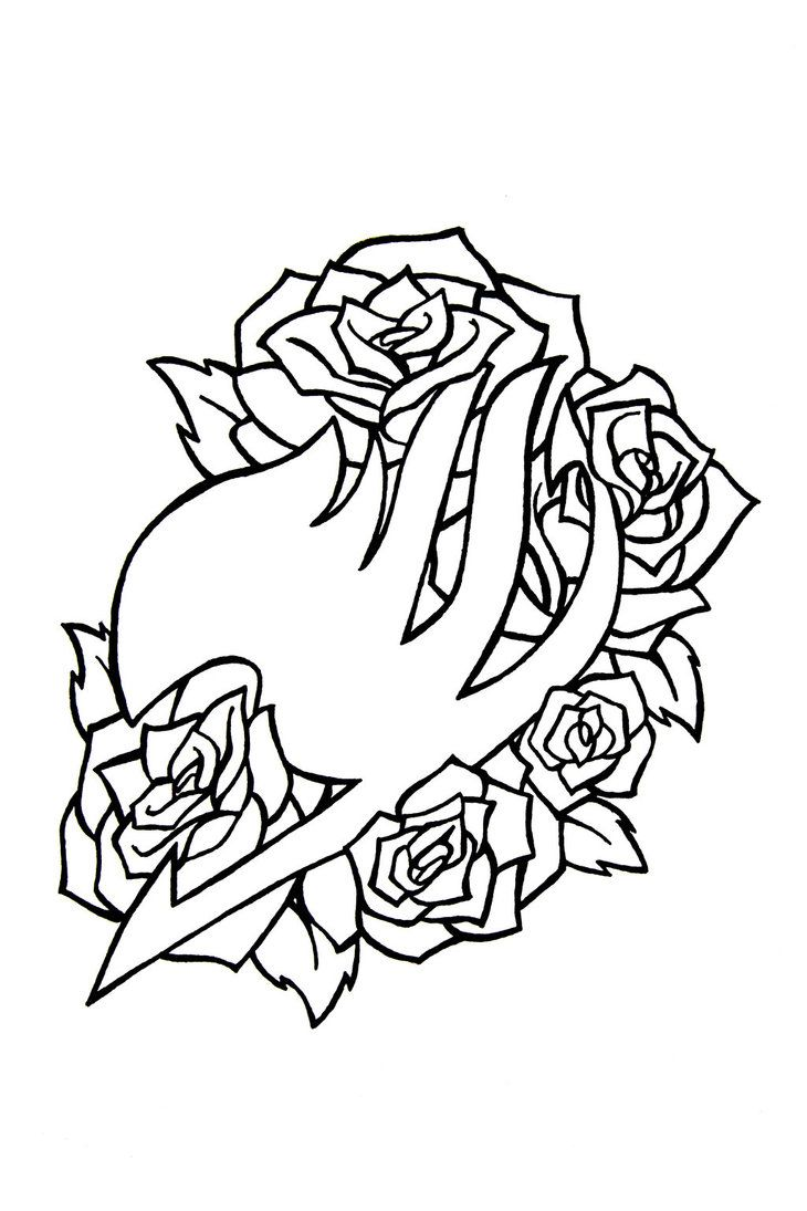 Fairy Tail Outline With Rose Flowers Tattoo Design