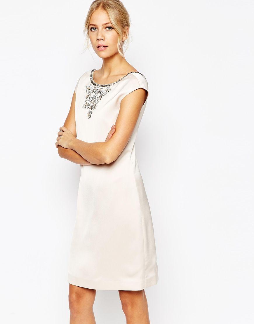 Ted Baker Viktria Embellished Shift Dress At Asos Com Shift Dress White Cocktail Dress Dresses [ 1110 x 870 Pixel ]
